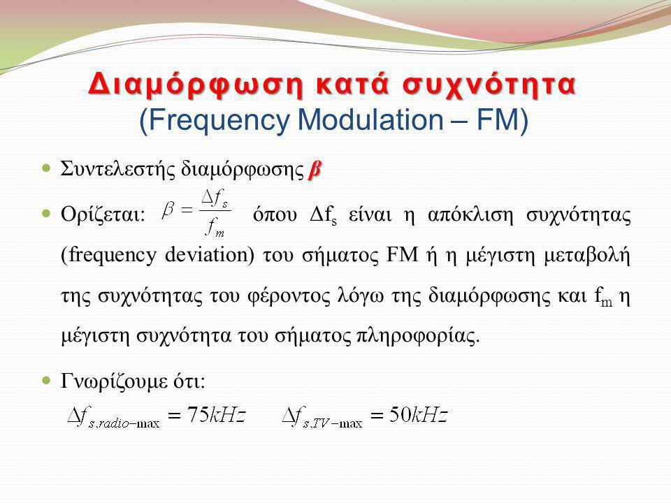 β Συντελεστής διαμόρφωσης β Ορίζεται: όπου Δf s είναι η απόκλιση συχνότητας (frequency deviation) του σήματος FM ή η μέγιστη μεταβολή της συχνότητας τ