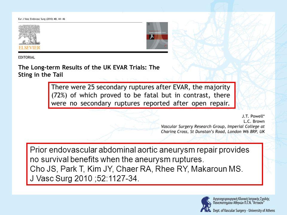 Prior endovascular abdominal aortic aneurysm repair provides no survival benefits when the aneurysm ruptures. Cho JS, Park T, Kim JY, Chaer RA, Rhee R