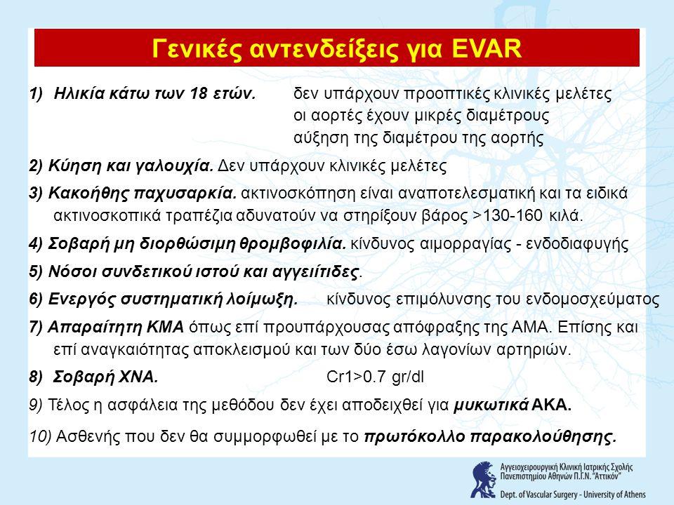 Guidelines for the treatment of abdominal aortic aneurysms Report of a subcommittee of the Joint Council of the American Association for Vascular Surgery and Society for Vascular Surgery 1.Η ένδειξη για αποκατάσταση ΑΚΑ πρέπει να εξατομικεύεται 2.Το όριο των 5,5 cm αποτελεί ένα ασφαλές όριο για το μέσο ασθενή 3.Για ανευρύσματα διαμέτρου 4,5-5,5 cm, θα πρέπει να λαμβάνεται υπόψη η προτίμηση του ασθενή 4.Στις γυναίκες, τα 4,5-5 cm αποτελούν το καταλληλότερο όριο για αποκατάσταση 5.Δεν υπάρχουν αποδείξεις ότι η ενδαγγειακή χειρουργική των ΑΚΑ θα πρέπει να χρησιμοποιεί διαφορετικές ενδείξεις 6.Στην επιλογή μεταξύ ανοικτής και ενδαγγειακής αποκατάστασης των ΑΚΑ θα πρέπει να λαμβάνεται υπόψη η προτίμηση του ασθενή