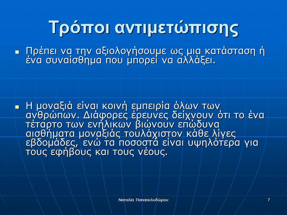 Ναταλία Παπαπολυδώρου 8 Η μοναξιά δεν πρέπει να μεταφράζεται παρά ως ένα σημάδι ότι σημαντικές μας ανάγκες δεν ικανοποιούνται.
