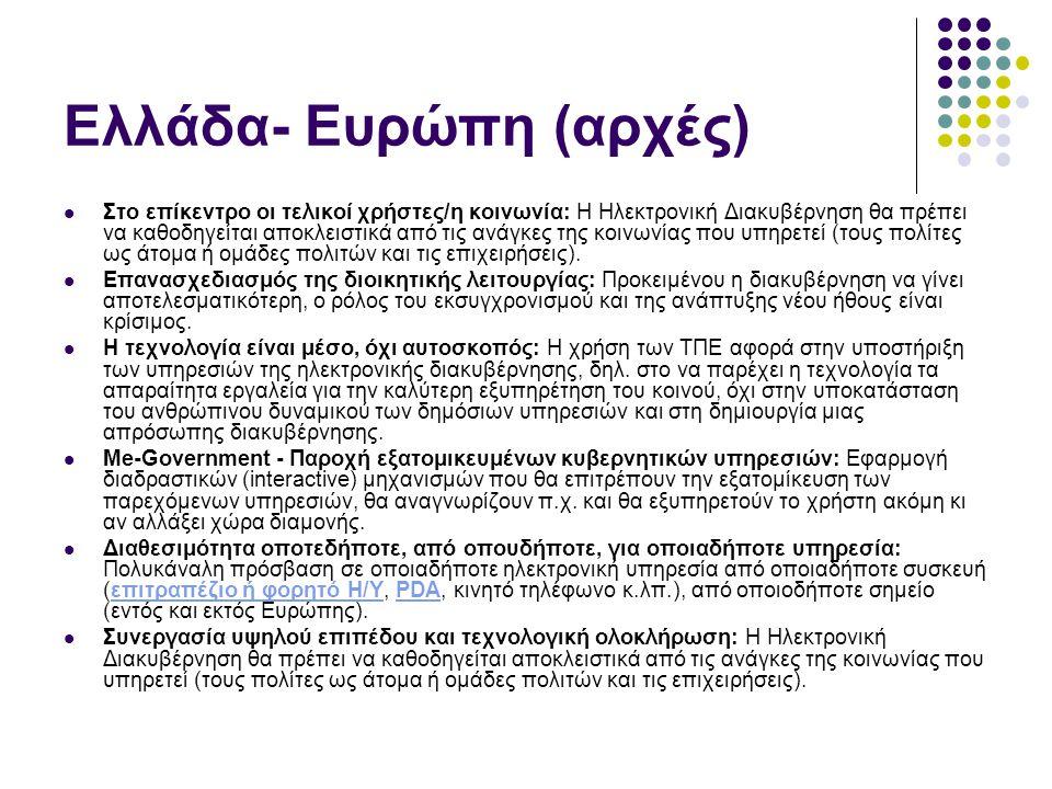 Ελλάδα- Ευρώπη (αρχές) Στο επίκεντρο οι τελικοί χρήστες/η κοινωνία: Η Ηλεκτρονική Διακυβέρνηση θα πρέπει να καθοδηγείται αποκλειστικά από τις ανάγκες της κοινωνίας που υπηρετεί (τους πολίτες ως άτομα ή ομάδες πολιτών και τις επιχειρήσεις).