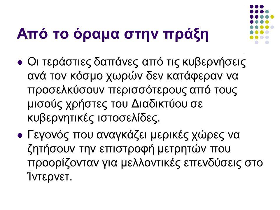 Τεχνολογικές – θεσμικές προϋποθέσεις Η Ελλάδα αποτελεί μια από τις ελάχιστες χώρες που δεν διαθέτουν κυβερνητικό portal.