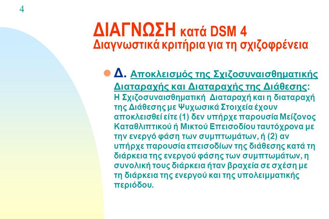 ΔΙΑΓΝΩΣΗ κατά DSM 4 Διαγνωστικά κριτήρια για τη σχιζοφρένεια l Γ. Διάρκεια: Συνεχή σημεία της διαταραχής επιμένουν για τουλάχιστον έξι μήνες. Αυτή η π