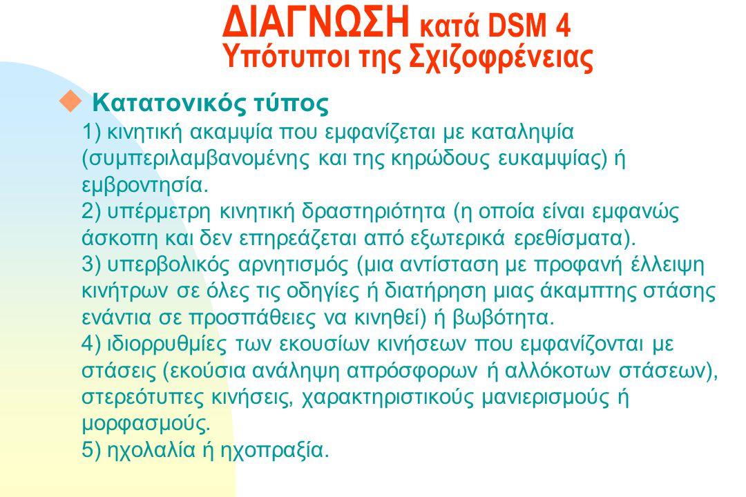 ΔΙΑΓΝΩΣΗ κατά DSM 4 Υπότυποι της Σχιζοφρένειας u Αποδιοργανωμένος τύπος Α. Προεξάρχουν τα ακόλουθα: 1) αποδιοργανωμένος λόγος 2) αποδιοργανωμένη συμπε