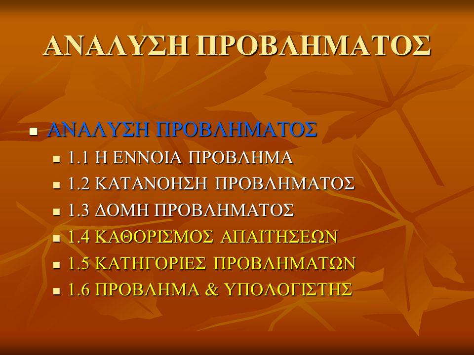 ΑΝΑΛΥΣΗ ΠΡΟΒΛΗΜΑΤΟΣ ΑΝΑΛΥΣΗ ΠΡΟΒΛΗΜΑΤΟΣ ΑΝΑΛΥΣΗ ΠΡΟΒΛΗΜΑΤΟΣ 1.1 Η ΕΝΝΟΙΑ ΠΡΟΒΛΗΜΑ 1.1 Η ΕΝΝΟΙΑ ΠΡΟΒΛΗΜΑ 1.2 ΚΑΤΑΝΟΗΣΗ ΠΡΟΒΛΗΜΑΤΟΣ 1.2 ΚΑΤΑΝΟΗΣΗ ΠΡΟΒΛΗΜΑΤΟΣ 1.3 ΔΟΜΗ ΠΡΟΒΛΗΜΑΤΟΣ 1.3 ΔΟΜΗ ΠΡΟΒΛΗΜΑΤΟΣ 1.4 ΚΑΘΟΡΙΣΜΟΣ ΑΠΑΙΤΗΣΕΩΝ 1.4 ΚΑΘΟΡΙΣΜΟΣ ΑΠΑΙΤΗΣΕΩΝ 1.5 ΚΑΤΗΓΟΡΙΕΣ ΠΡΟΒΛΗΜΑΤΩΝ 1.5 ΚΑΤΗΓΟΡΙΕΣ ΠΡΟΒΛΗΜΑΤΩΝ 1.6 ΠΡΟΒΛΗΜΑ & ΥΠΟΛΟΓΙΣΤΗΣ 1.6 ΠΡΟΒΛΗΜΑ & ΥΠΟΛΟΓΙΣΤΗΣ