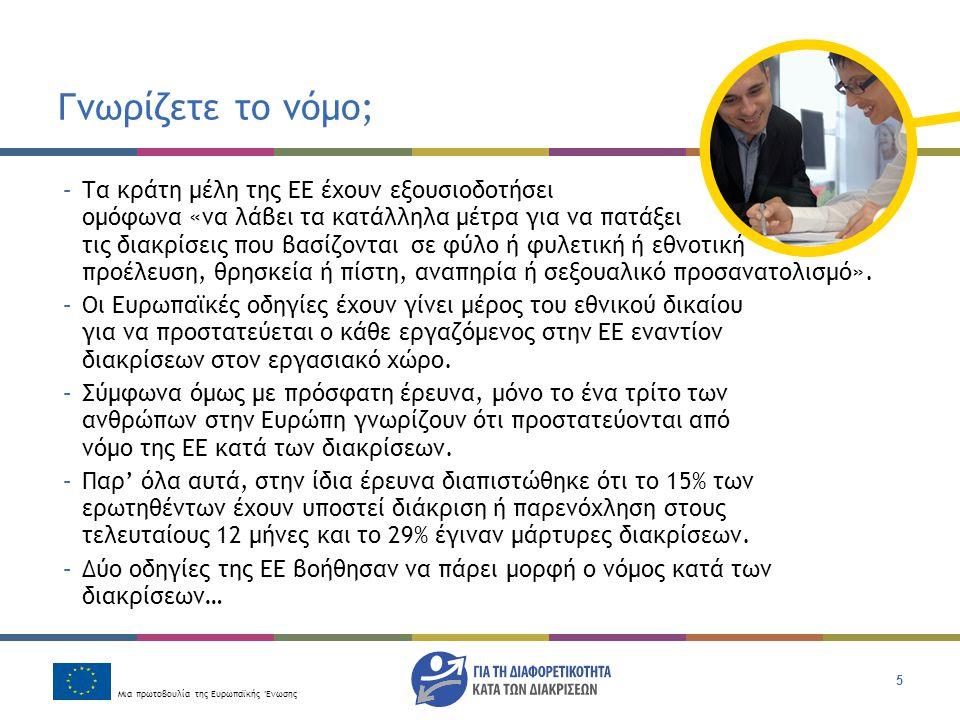 Μια πρωτοβουλία της Ευρωπαϊκής Ένωσης 16 Εσείς τι πιστεύετε; Μια γυναίκα κάνει αίτηση εργασίας σε μια εταιρία τροφοδοσίας.