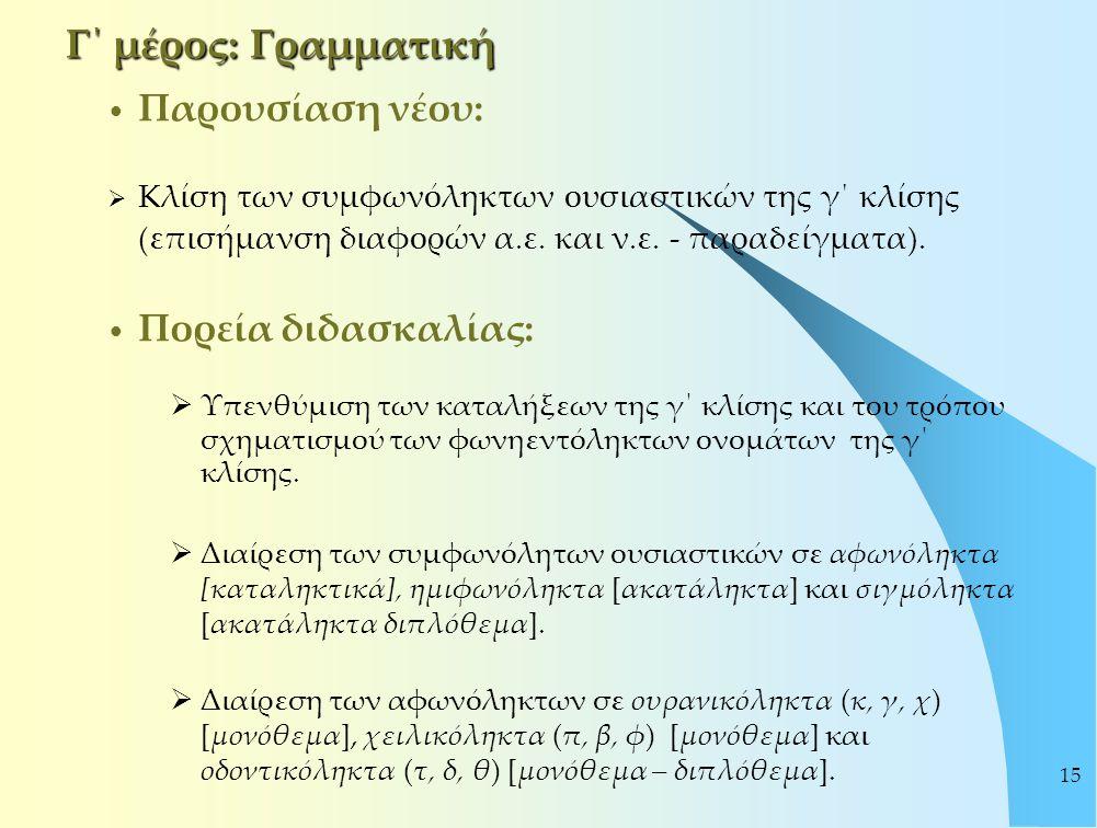 15 Γ΄ μέρος: Γραμματική Παρουσίαση νέου:  Κλίση των συμφωνόληκτων ουσιαστικών της γ΄ κλίσης (επισήμανση διαφορών α.ε. και ν.ε. - παραδείγματα). Πορεί