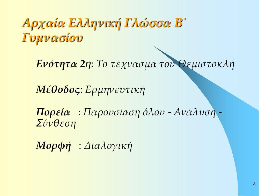 2 Αρχαία Ελληνική Γλώσσα Β΄ Γυμνασίου Ενότητα 2 η : Το τέχνασμα του Θεμιστοκλή Μέθοδος: Ερμηνευτική Πορεία : Παρουσίαση όλου - Ανάλυση - Σ ύνθεση Μορφ