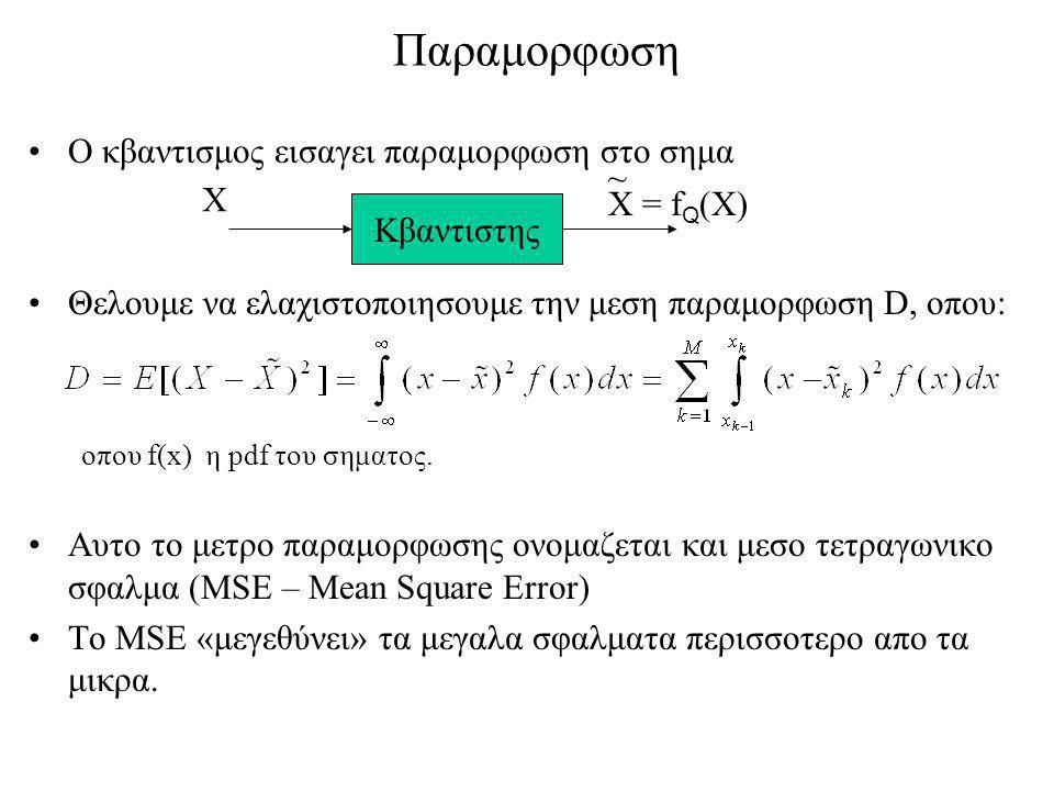 Παραμορφωση Ο κβαντισμος εισαγει παραμορφωση στο σημα Θελουμε να ελαχιστοποιησουμε την μεση παραμορφωση D, οπου: οπου f(x) η pdf του σηματος.
