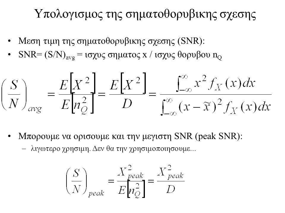 Υπολογισμος της σηματοθορυβικης σχεσης Μεση τιμη της σηματοθορυβικης σχεσης (SNR): SNR= (S/N) avg = ισχυς σηματος x / ισχυς θορυβου n Q Μπορουμε να ορισουμε και την μεγιστη SNR (peak SNR): –λιγωτερο χρησιμη.