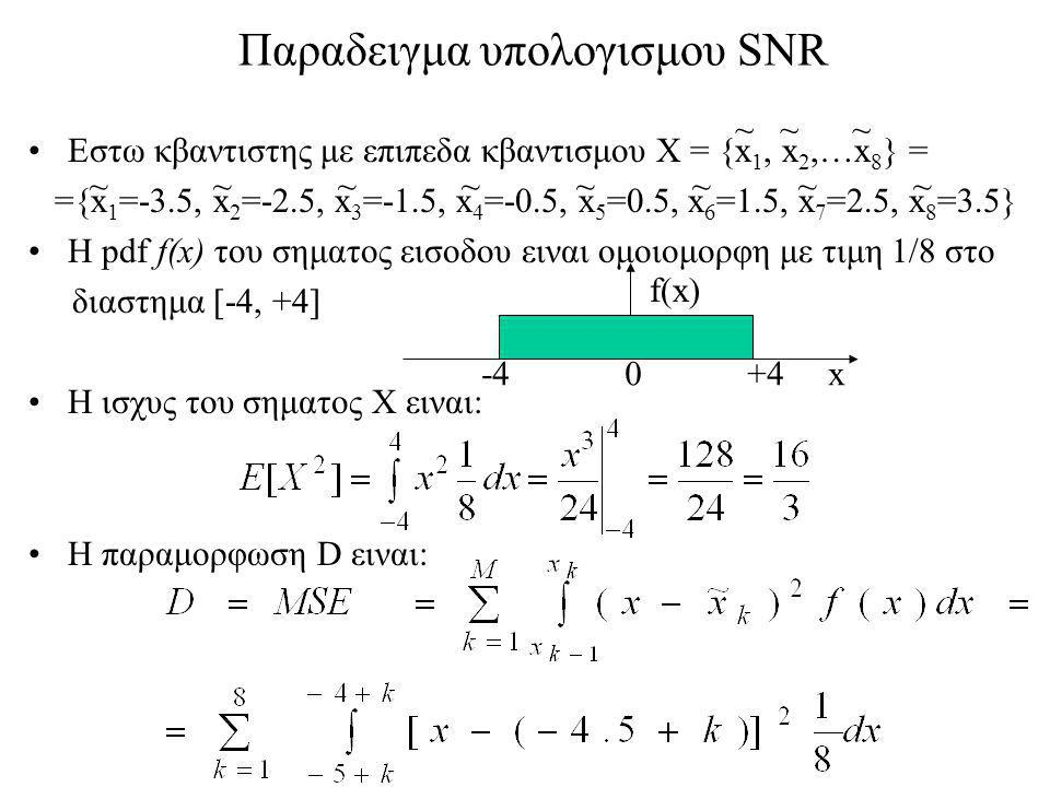 Παραδειγμα υπολογισμου SNR Εστω κβαντιστης με επιπεδα κβαντισμου Χ = {x 1, x 2,…x 8 } = ={x 1 =-3.5, x 2 =-2.5, x 3 =-1.5, x 4 =-0.5, x 5 =0.5, x 6 =1.5, x 7 =2.5, x 8 =3.5} H pdf f(x) του σηματος εισοδου ειναι ομοιομορφη με τιμη 1/8 στο διαστημα [-4, +4] Η ισχυς του σηματος X ειναι: Η παραμορφωση D ειναι: ~ ~ ~ ~ ~ ~ ~ -4 0 +4 x f(x)
