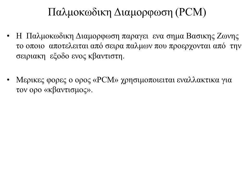 Παλμοκωδικη Διαμορφωση (PCM) Η Παλμοκωδικη Διαμορφωση παραγει ενα σημα Βασικης Ζωνης το οποιο αποτελειται από σειρα παλμων που προερχονται από την σειριακη εξοδο ενος κβαντιστη.