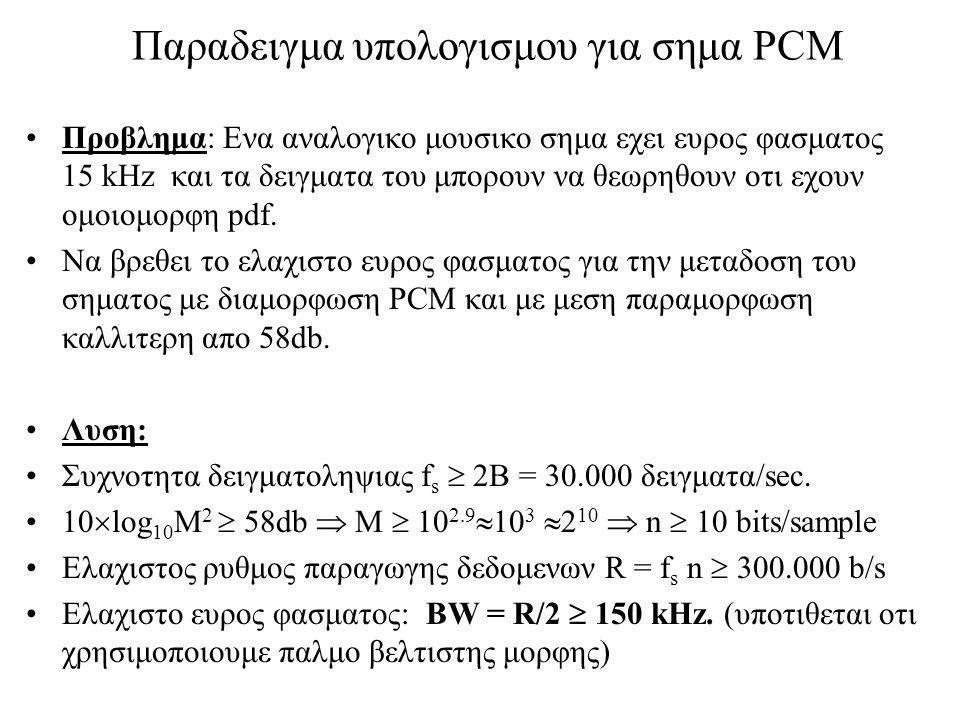 Παραδειγμα υπολογισμου για σημα PCM Προβλημα: Ενα αναλογικο μουσικο σημα εχει ευρος φασματος 15 kHz και τα δειγματα του μπορουν να θεωρηθουν οτι εχουν ομοιομορφη pdf.