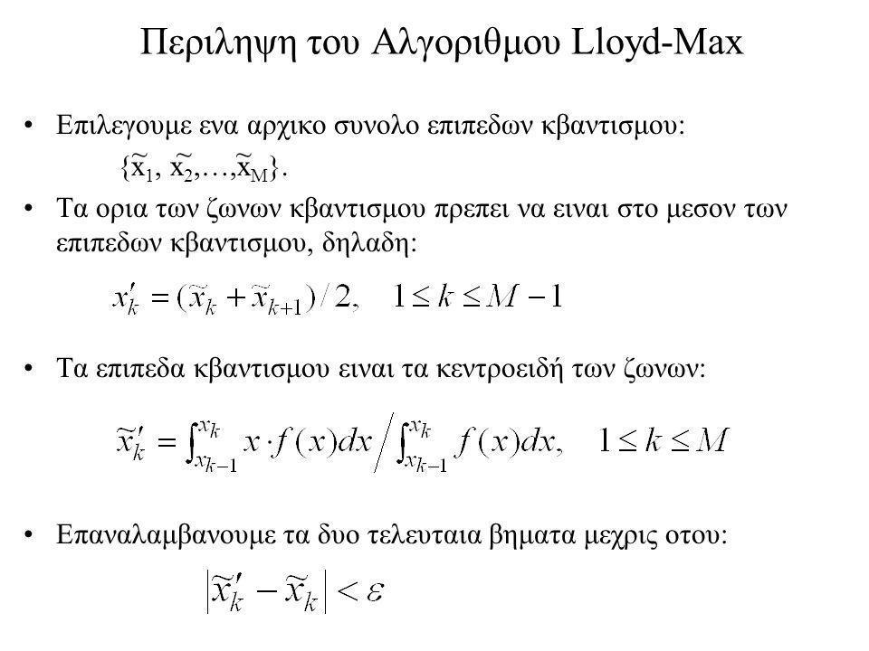 Περιληψη του Αλγοριθμου Lloyd-Max Επιλεγουμε ενα αρχικο συνολο επιπεδων κβαντισμου: {x 1, x 2,…,x M }.