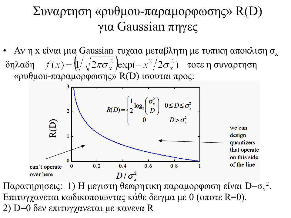 Συναρτηση «ρυθμου-παραμορφωσης» R(D) για Gaussian πηγες Αν η x είναι μια Gaussian τυχαια μεταβλητη με τυπικη αποκλιση σ x δηλαδη τοτε η συναρτηση «ρυθμου-παραμορφωσης» R(D) ισουται προς: Παρατηρησεις: 1) Η μεγιστη θεωρητικη παραμορφωση είναι D=σ x 2.