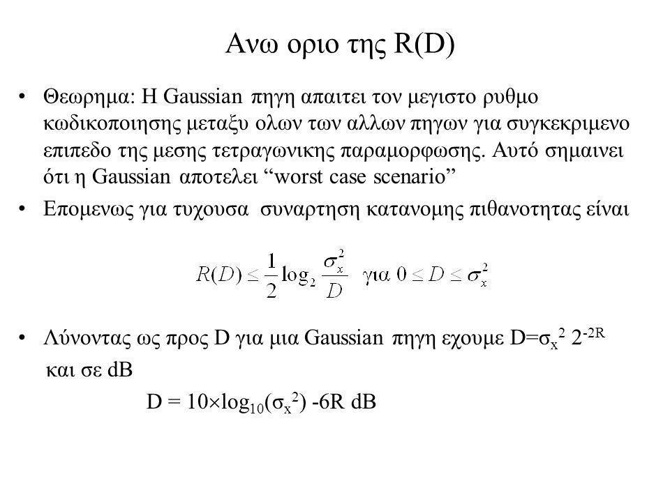 Ανω οριο της R(D) Θεωρημα: Η Gaussian πηγη απαιτει τον μεγιστο ρυθμο κωδικοποιησης μεταξυ ολων των αλλων πηγων για συγκεκριμενο επιπεδο της μεσης τετραγωνικης παραμορφωσης.