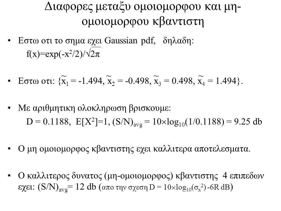 Διαφορες μεταξυ ομοιομορφου και μη- ομοιομορφου κβαντιστη Εστω οτι το σημα εχει Gaussian pdf, δηλαδη: f(x)=exp(-x 2 /2)/  2π Εστω οτι: {x 1 = -1.494, x 2 = -0.498, x 3 = 0.498, x 4 = 1.494}.