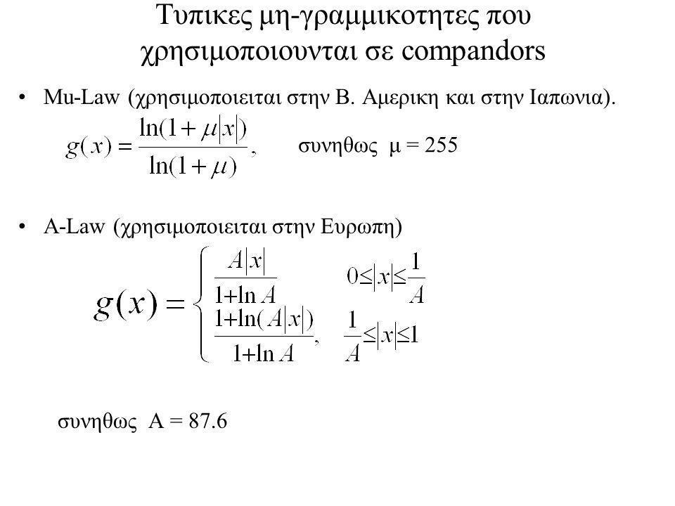 Τυπικες μη-γραμμικοτητες που χρησιμοποιουνται σε compandors Mu-Law (χρησιμοποιειται στην Β.