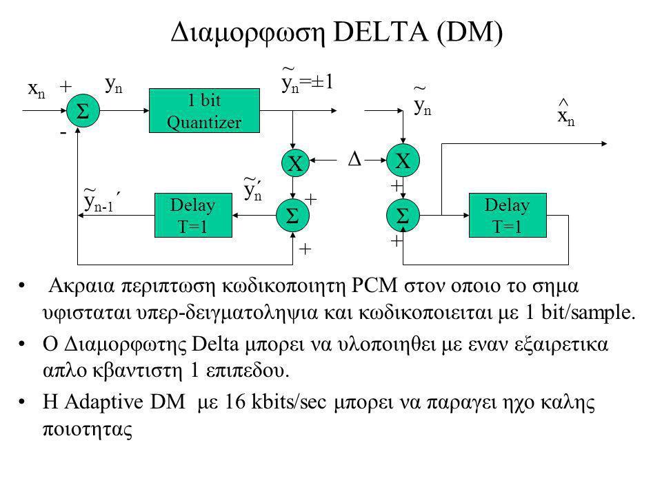 Διαμορφωση DELTA (DM) Ακραια περιπτωση κωδικοποιητη PCM στον οποιο το σημα υφισταται υπερ-δειγματοληψια και κωδικοποιειται με 1 bit/sample.