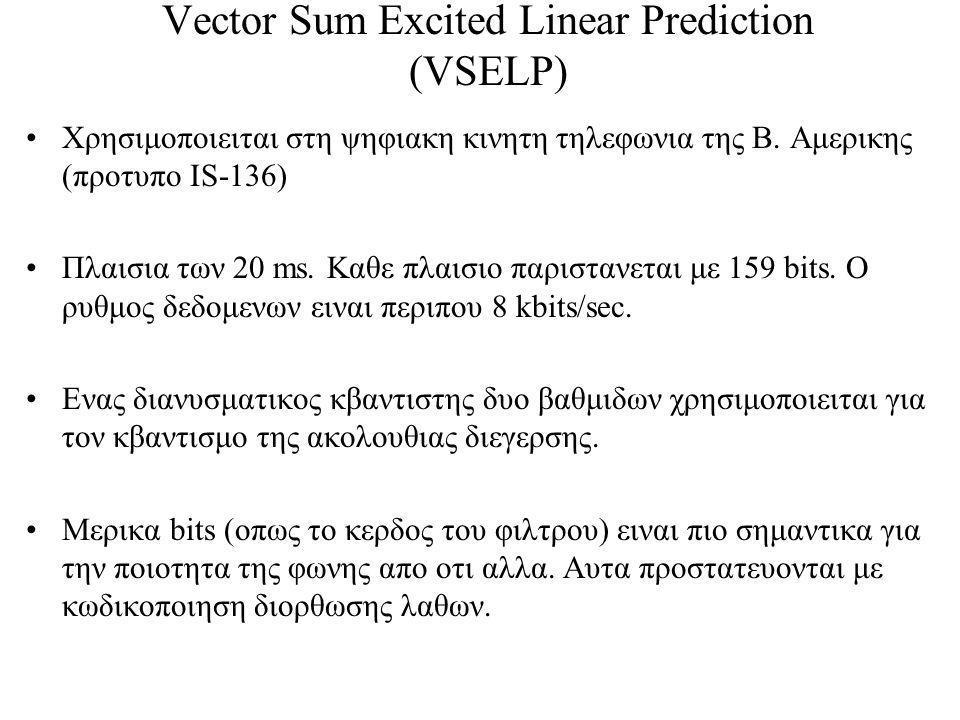 Vector Sum Excited Linear Prediction (VSELP) Χρησιμοποιειται στη ψηφιακη κινητη τηλεφωνια της Β.