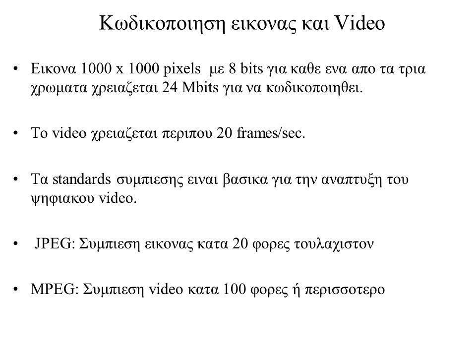 Κωδικοποιηση εικονας και Video Εικονα 1000 x 1000 pixels με 8 bits για καθε ενα απο τα τρια χρωματα χρειαζεται 24 Mbits για να κωδικοποιηθει.