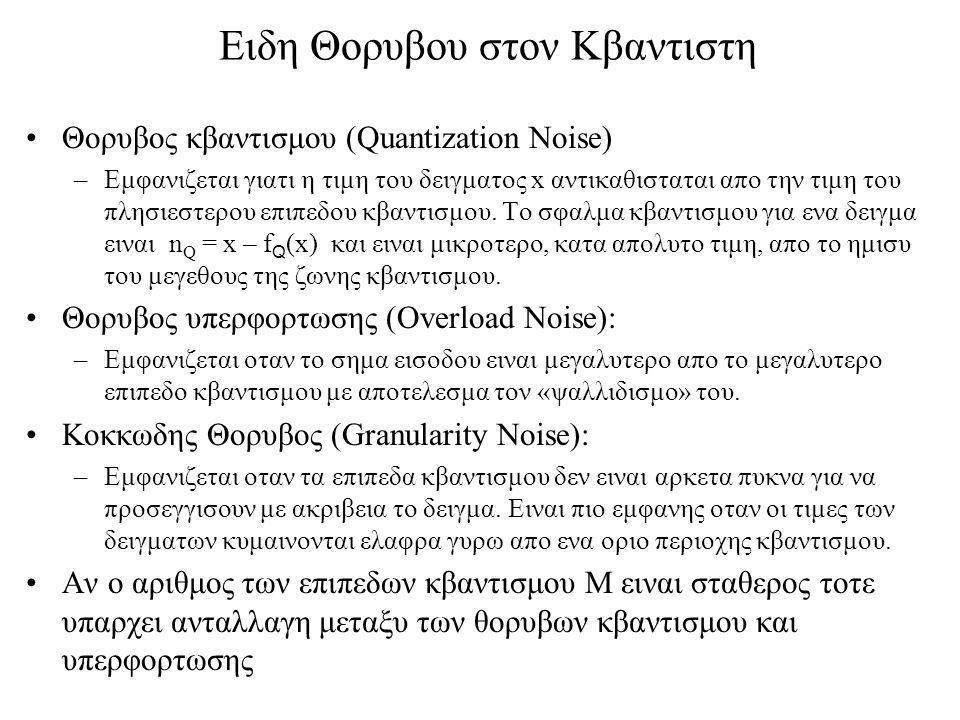 Ειδη Θορυβου στον Κβαντιστη Θορυβος κβαντισμου (Quantization Noise) –Εμφανιζεται γιατι η τιμη του δειγματος x αντικαθισταται απο την τιμη του πλησιεστερου επιπεδου κβαντισμου.