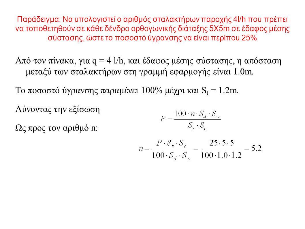 Παράδειγμα: Να υπολογιστεί ο αριθμός σταλακτήρων παροχής 4l/h που πρέπει να τοποθετηθούν σε κάθε δένδρο ορθογωνικής διάταξης 5Χ5m σε έδαφος μέσης σύστασης, ώστε το ποσοστό ύγρανσης να είναι περίπου 25% Από τον πίνακα, για q = 4 l/h, και έδαφος μέσης σύστασης, η απόσταση μεταξύ των σταλακτήρων στη γραμμή εφαρμογής είναι 1.0m.