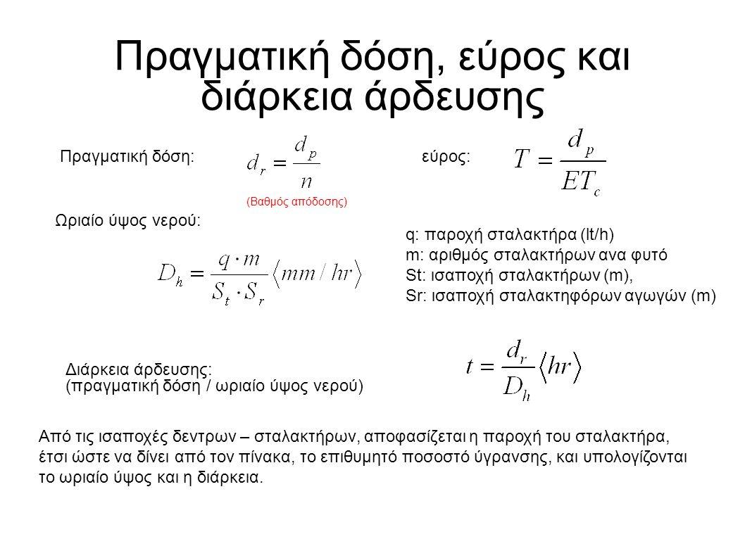 Πραγματική δόση, εύρος και διάρκεια άρδευσης Πραγματική δόση:εύρος: Ωριαίο ύψος νερού: q: παροχή σταλακτήρα (lt/h) m: αριθμός σταλακτήρων ανα φυτό St: ισαποχή σταλακτήρων (m), Sr: ισαποχή σταλακτηφόρων αγωγών (m) Διάρκεια άρδευσης: (πραγματική δόση / ωριαίο ύψος νερού) Από τις ισαποχές δεντρων – σταλακτήρων, αποφασίζεται η παροχή του σταλακτήρα, έτσι ώστε να δίνει από τον πίνακα, το επιθυμητό ποσοστό ύγρανσης, και υπολογίζονται το ωριαίο ύψος και η διάρκεια.