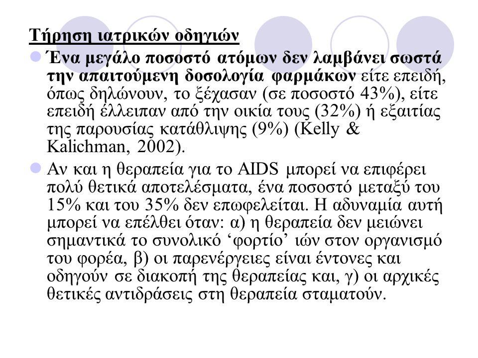 Τήρηση ιατρικών οδηγιών Ένα μεγάλο ποσοστό ατόμων δεν λαμβάνει σωστά την απαιτούμενη δοσολογία φαρμάκων είτε επειδή, όπως δηλώνουν, το ξέχασαν (σε ποσοστό 43%), είτε επειδή έλλειπαν από την οικία τους (32%) ή εξαιτίας της παρουσίας κατάθλιψης (9%) (Kelly & Kalichman, 2002).