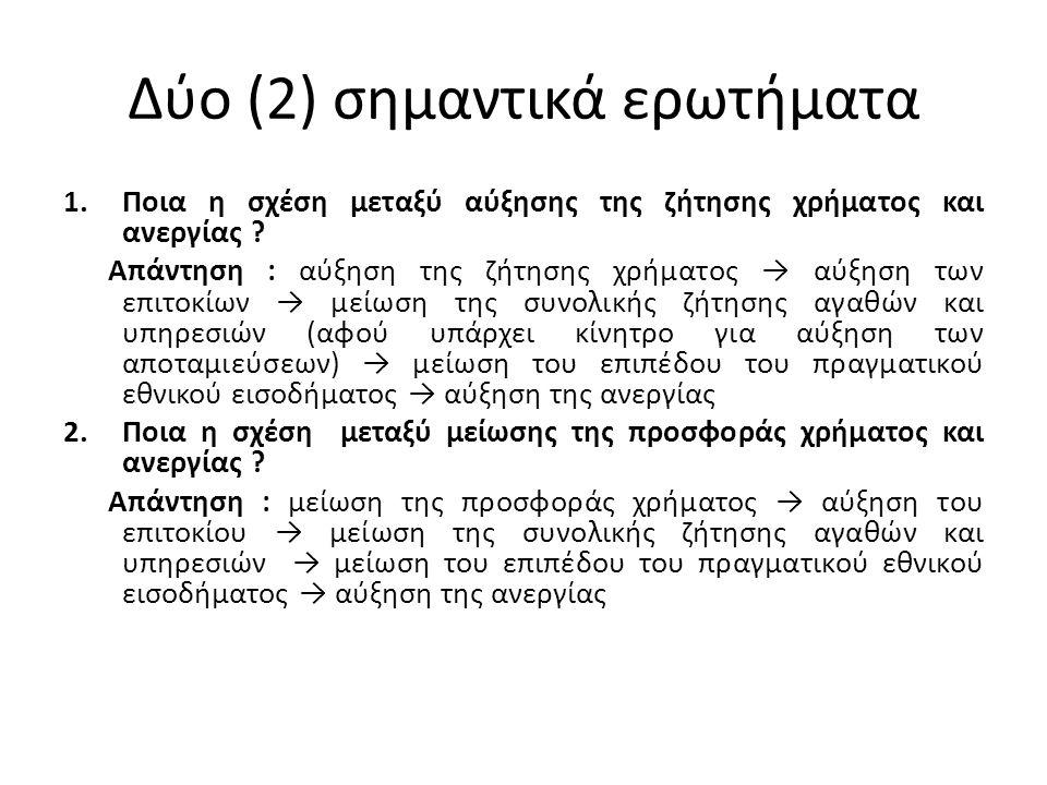 Δύο (2) σημαντικά ερωτήματα 1.Ποια η σχέση μεταξύ αύξησης της ζήτησης χρήματος και ανεργίας ? Απάντηση : αύξηση της ζήτησης χρήματος → αύξηση των επιτ
