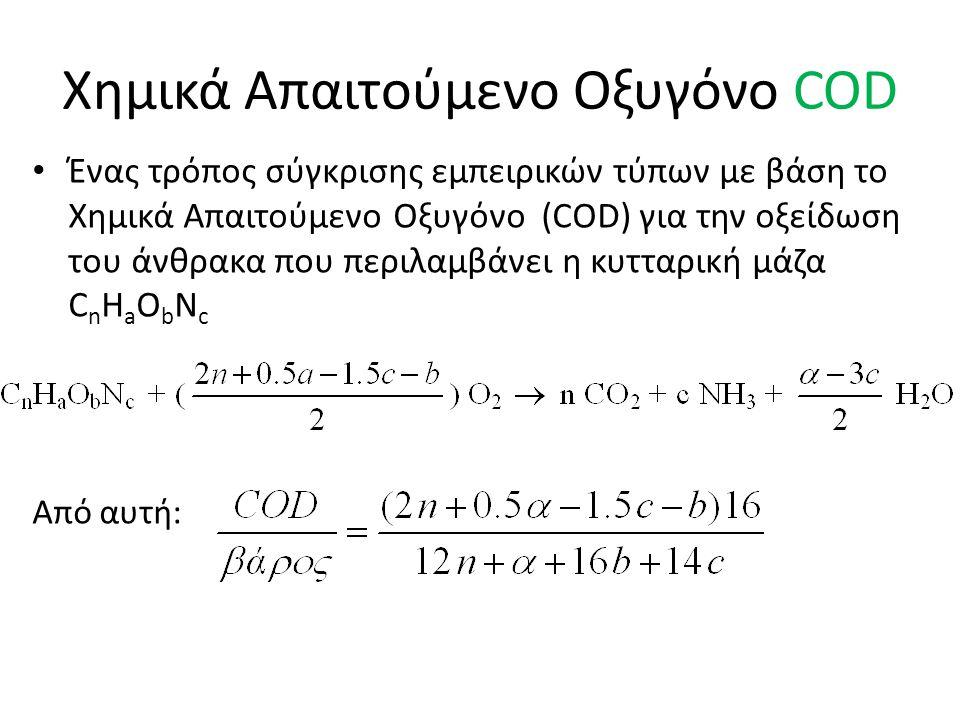 Χημικά Απαιτούμενο Οξυγόνο COD Ένας τρόπος σύγκρισης εμπειρικών τύπων με βάση το Χημικά Απαιτούμενο Οξυγόνο (COD) για την οξείδωση του άνθρακα που περιλαμβάνει η κυτταρική μάζα C n H a O b N c Από αυτή: