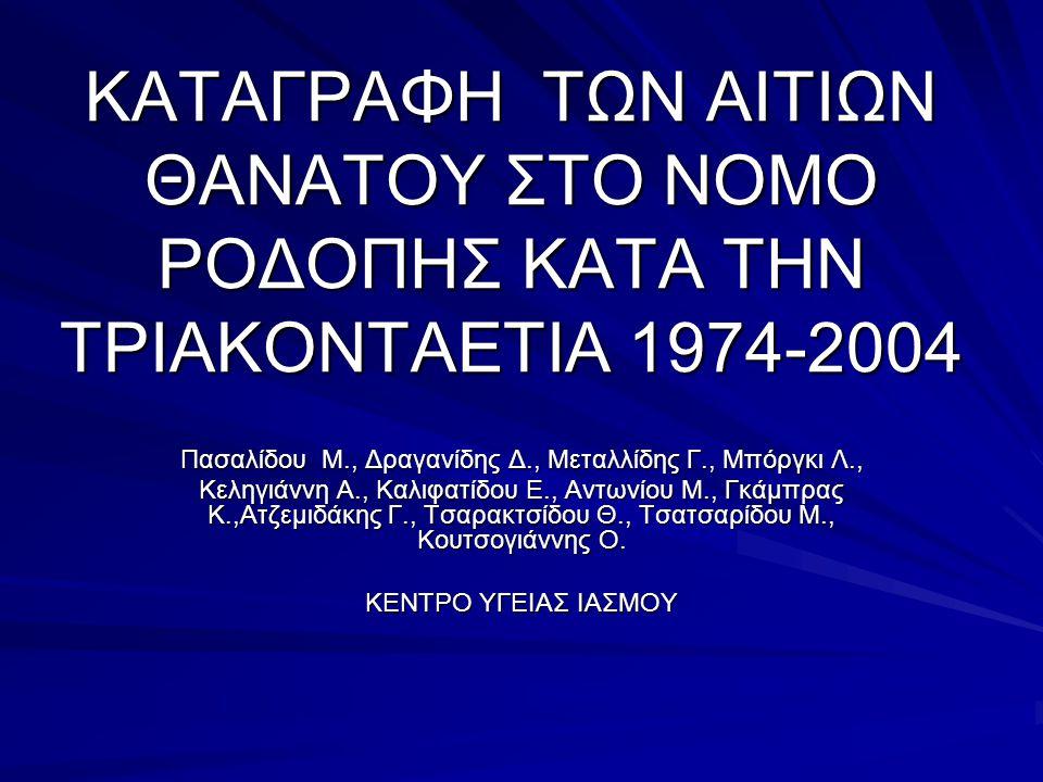 ΚΑΤΑΓΡΑΦΗ ΤΩΝ ΑΙΤΙΩΝ ΘΑΝΑΤΟΥ ΣΤΟ ΝΟΜΟ ΡΟΔΟΠΗΣ ΚΑΤΑ ΤΗΝ ΤΡΙΑΚΟΝΤΑΕΤΙΑ 1974-2004 Πασαλίδου Μ., Δραγανίδης Δ., Μεταλλίδης Γ., Μπόργκι Λ., Κεληγιάννη Α., Καλιφατίδου Ε., Αντωνίου Μ., Γκάμπρας Κ.,Ατζεμιδάκης Γ., Τσαρακτσίδου Θ., Τσατσαρίδου Μ., Κουτσογιάννης Ο.
