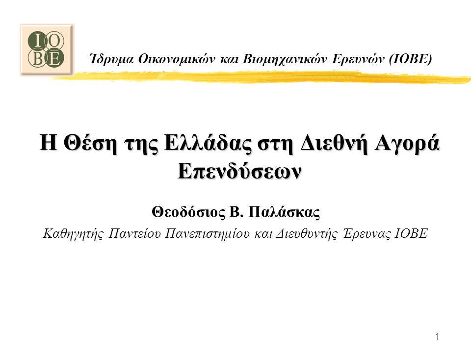 1 Η Θέση της Ελλάδας στη Διεθνή Αγορά Επενδύσεων Θεοδόσιος Β. Παλάσκας Καθηγητής Παντείου Πανεπιστημίου και Διευθυντής Έρευνας ΙΟΒΕ Ίδρυμα Οικονομικών