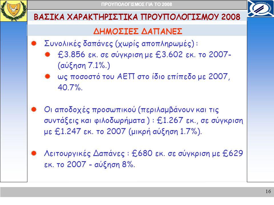 ΠΡΟΥΠΟΛΟΓΙΣΜΟΣ ΓΙΑ ΤΟ 2008 16 ΔΗΜΟΣΙΕΣ ΔΑΠΑΝΕΣ ΒΑΣΙΚΑ ΧΑΡΑΚΤΗΡΙΣΤΙΚΑ ΠΡΟΥΠΟΛΟΓΙΣΜΟΥ 2008  Συνολικές δαπάνες (χωρίς αποπληρωμές) :  £3.856 εκ.