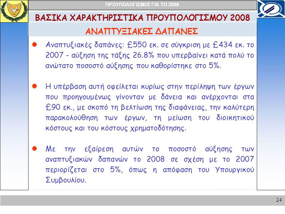 ΠΡΟΥΠΟΛΟΓΙΣΜΟΣ ΓΙΑ ΤΟ 2008 24 ΑΝΑΠΤΥΞΙΑΚΕΣ ΔΑΠΑΝΕΣ ΒΑΣΙΚΑ ΧΑΡΑΚΤΗΡΙΣΤΙΚΑ ΠΡΟΥΠΟΛΟΓΙΣΜΟΥ 2008  Αναπτυξιακές δαπάνες: £550 εκ.