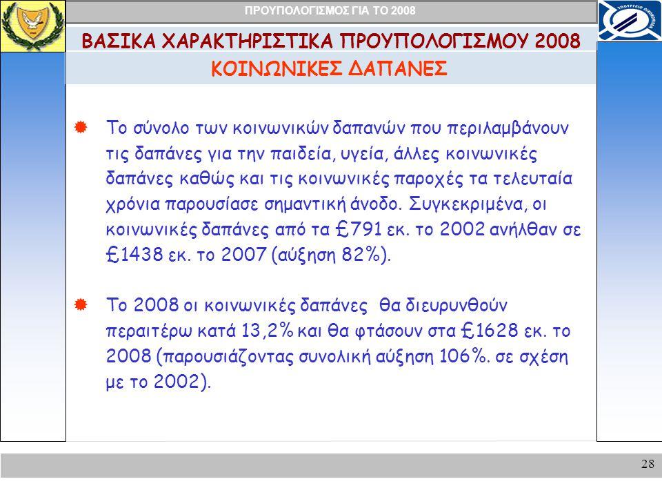 ΠΡΟΥΠΟΛΟΓΙΣΜΟΣ ΓΙΑ ΤΟ 2008 28 ΚΟΙΝΩΝΙΚΕΣ ΔΑΠΑΝΕΣ ΒΑΣΙΚΑ ΧΑΡΑΚΤΗΡΙΣΤΙΚΑ ΠΡΟΥΠΟΛΟΓΙΣΜΟΥ 2008  Το σύνολο των κοινωνικών δαπανών που περιλαμβάνουν τις δαπάνες για την παιδεία, υγεία, άλλες κοινωνικές δαπάνες καθώς και τις κοινωνικές παροχές τα τελευταία χρόνια παρουσίασε σημαντική άνοδο.