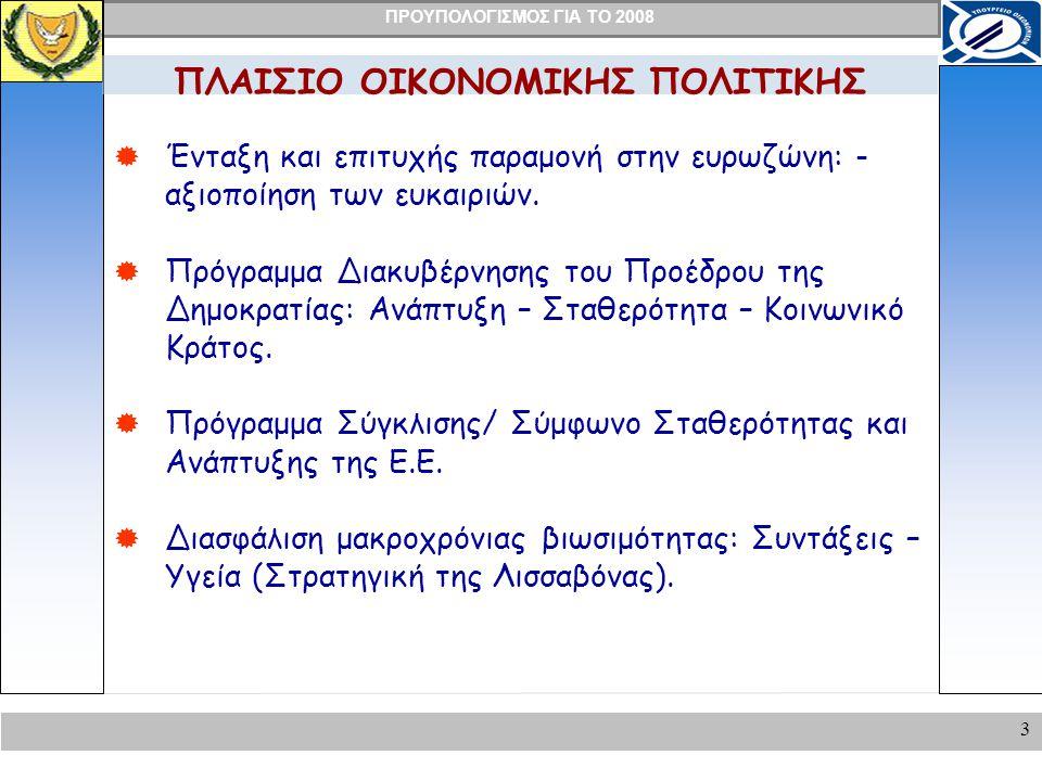 ΠΡΟΥΠΟΛΟΓΙΣΜΟΣ ΓΙΑ ΤΟ 2008 3 ΠΛΑΙΣΙΟ ΟΙΚΟΝΟΜΙΚΗΣ ΠΟΛΙΤΙΚΗΣ  Ένταξη και επιτυχής παραμονή στην ευρωζώνη: - αξιοποίηση των ευκαιριών.