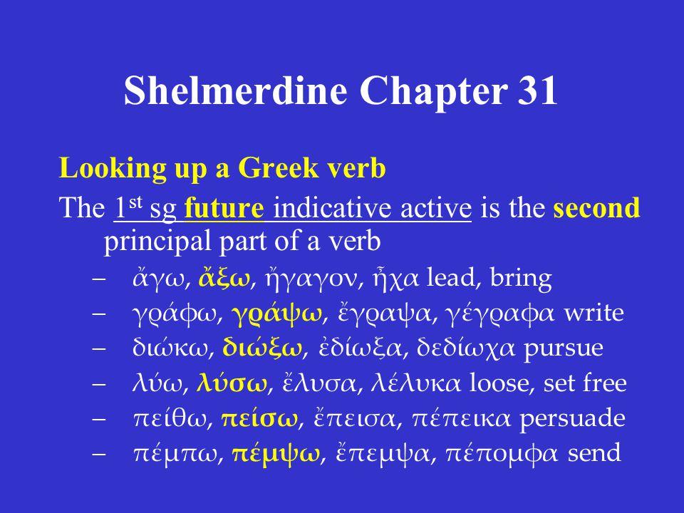 Shelmerdine Chapter 31 Looking up a Greek verb The 1 st sg future indicative active is the second principal part of a verb –ἄγω, ἄξω, ἤγαγον, ἦχα lead, bring –γράφω, γράψω, ἔγραψα, γέγραφα write –διώκω, διώξω, ἐδίωξα, δεδίωχα pursue –λύω, λύσω, ἔλυσα, λέλυκα loose, set free –πείθω, πείσω, ἔπεισα, πέπεικα persuade –πέμπω, πέμψω, ἔπεμψα, πέπομφα send