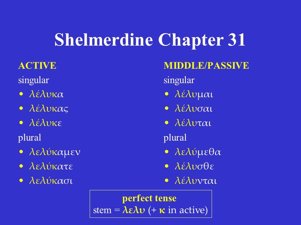 Shelmerdine Chapter 31 ACTIVE singular λέλυκα λέλυκας λέλυκε plural λελύκαμεν λελύκατε λελύκασι MIDDLE/PASSIVE singular λέλυμαι λέλυσαι λέλυται plural