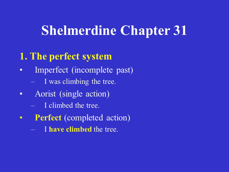 Shelmerdine Chapter 31 1. The perfect system Imperfect (incomplete past) –I was climbing the tree.