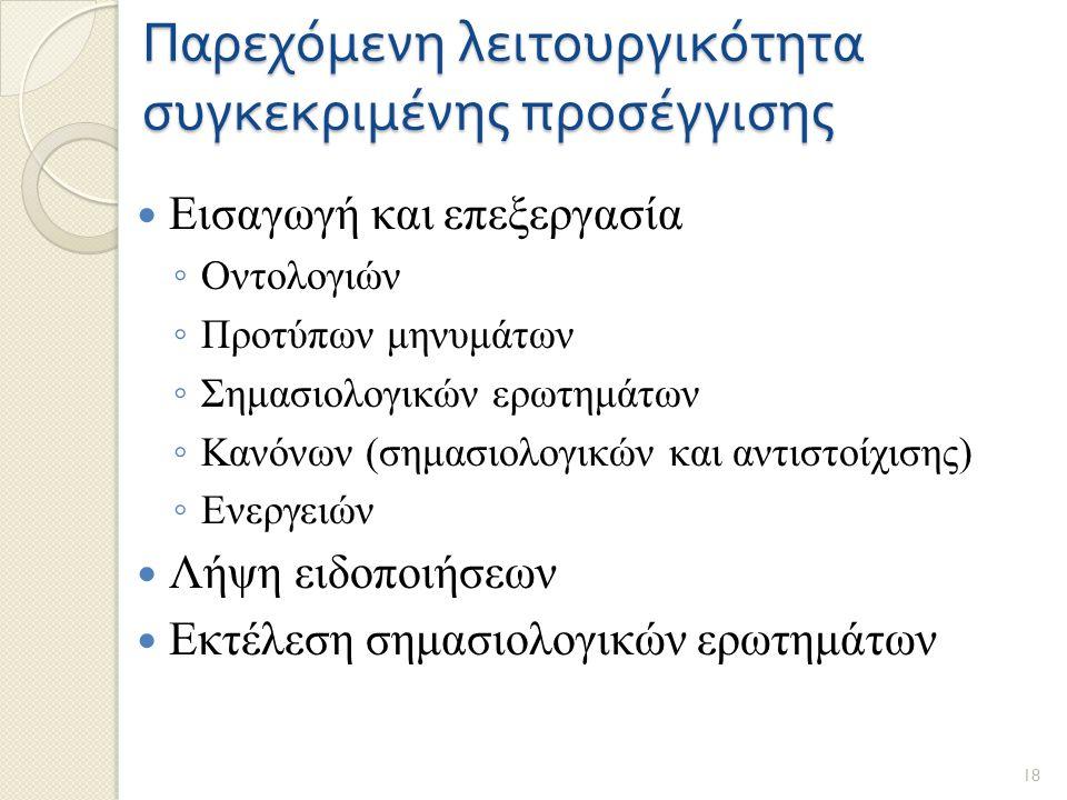 Παρεχόμενη λειτουργικότητα συγκεκριμένης προσέγγισης Εισαγωγή και επεξεργασία ◦ Οντολογιών ◦ Προτύπων μηνυμάτων ◦ Σημασιολογικών ερωτημάτων ◦ Κανόνων (σημασιολογικών και αντιστοίχισης) ◦ Ενεργειών Λήψη ειδοποιήσεων Εκτέλεση σημασιολογικών ερωτημάτων 18