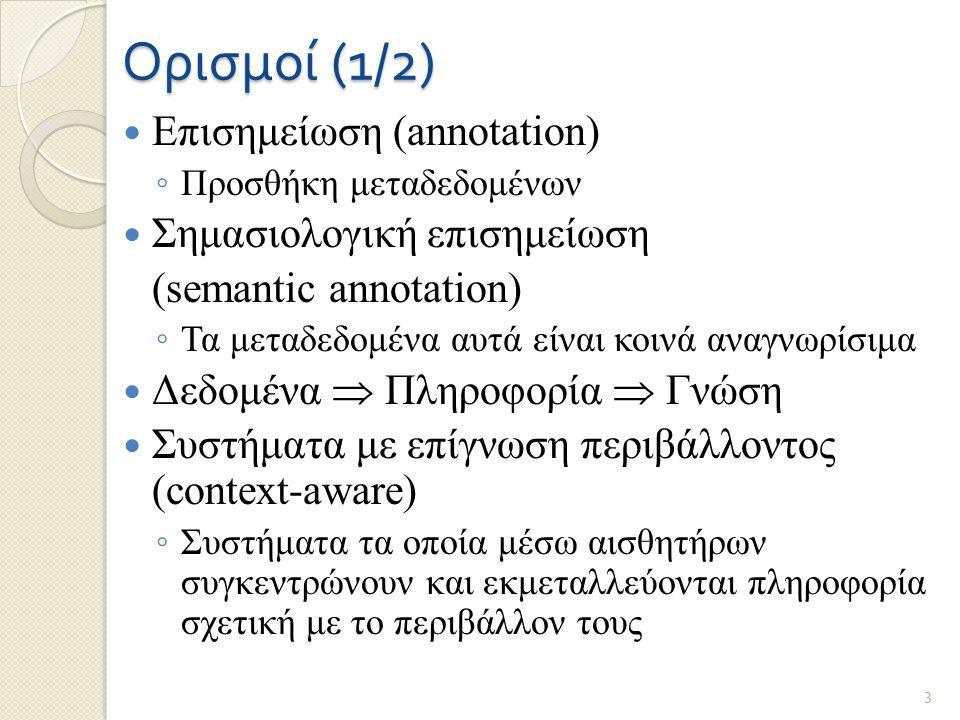 Ορισμοί (1/2) Επισημείωση (annotation) ◦ Προσθήκη μεταδεδομένων Σημασιολογική επισημείωση (semantic annotation) ◦ Τα μεταδεδομένα αυτά είναι κοινά αναγνωρίσιμα Δεδομένα  Πληροφορία  Γνώση Συστήματα με επίγνωση περιβάλλοντος (context-aware) ◦ Συστήματα τα οποία μέσω αισθητήρων συγκεντρώνουν και εκμεταλλεύονται πληροφορία σχετική με το περιβάλλον τους 3