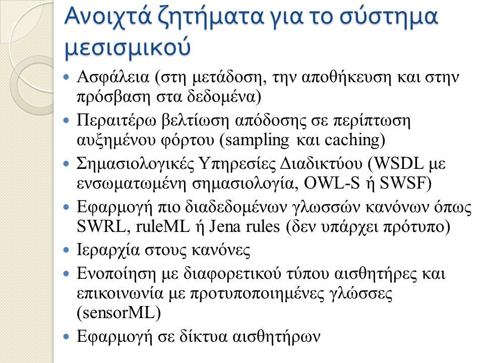 Ανοιχτά ζητήματα για το σύστημα μεσισμικού Ασφάλεια (στη μετάδοση, την αποθήκευση και στην πρόσβαση στα δεδομένα) Περαιτέρω βελτίωση απόδοσης σε περίπτωση αυξημένου φόρτου (sampling και caching) Σημασιολογικές Υπηρεσίες Διαδικτύου (WSDL με ενσωματωμένη σημασιολογία, OWL-S ή SWSF) Εφαρμογή πιο διαδεδομένων γλωσσών κανόνων όπως SWRL, ruleML ή Jena rules (δεν υπάρχει πρότυπο) Ιεραρχία στους κανόνες Ενοποίηση με διαφορετικού τύπου αισθητήρες και επικοινωνία με προτυποποιημένες γλώσσες (sensorML) Εφαρμογή σε δίκτυα αισθητήρων