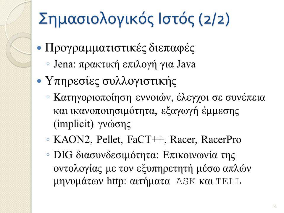 Σημασιολογικός Ιστός (2/2) Προγραμματιστικές διεπαφές ◦ Jena: πρακτική επιλογή για Java Υπηρεσίες συλλογιστικής ◦ Κατηγοριοποίηση εννοιών, έλεγχοι σε συνέπεια και ικανοποιησιμότητα, εξαγωγή έμμεσης (implicit) γνώσης ◦ KAON2, Pellet, FaCT++, Racer, RacerPro ◦ DIG διασυνδεσιμότητα: Επικοινωνία της οντολογίας με τον εξυπηρετητή μέσω απλών μηνυμάτων http: αιτήματα ASK και TELL 8