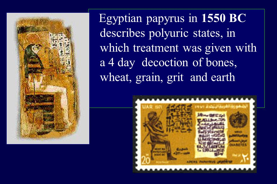 Egyptian papyrus in 1550 BC describes polyuric states, in which treatment was given with a 4 day decoction of bones, wheat, grain, grit and earth
