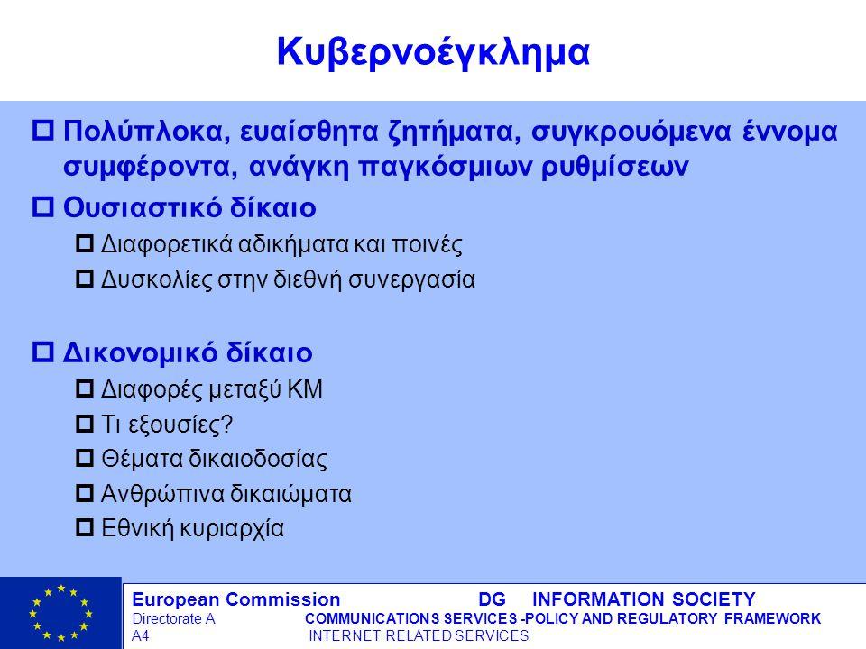 European Commission DG INFORMATION SOCIETY Directorate ACOMMUNICATIONS SERVICES -POLICY AND REGULATORY FRAMEWORK A4 INTERNET RELATED SERVICES 16 - 12/09/98 Κυβερνοέγκλημα pΠολύπλοκα, ευαίσθητα ζητήματα, συγκρουόμενα έννομα συμφέροντα, ανάγκη παγκόσμιων ρυθμίσεων pΟυσιαστικό δίκαιο pΔιαφορετικά αδικήματα και ποινές pΔυσκολίες στην διεθνή συνεργασία pΔικονομικό δίκαιο pΔιαφορές μεταξύ ΚΜ pΤι εξουσίες.
