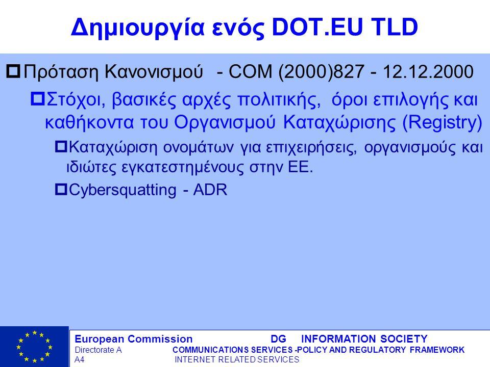 European Commission DG INFORMATION SOCIETY Directorate ACOMMUNICATIONS SERVICES -POLICY AND REGULATORY FRAMEWORK A4 INTERNET RELATED SERVICES 18 - 12/09/98 Δημιουργία ενός DOT.EU TLD pΠρόταση Κανονισμού - COM (2000)827 - 12.12.2000 pΣτόχοι, βασικές αρχές πολιτικής, όροι επιλογής και καθήκοντα του Οργανισμού Καταχώρισης (Registry) pΚαταχώριση ονομάτων για επιχειρήσεις, οργανισμούς και ιδιώτες εγκατεστημένους στην ΕΕ.