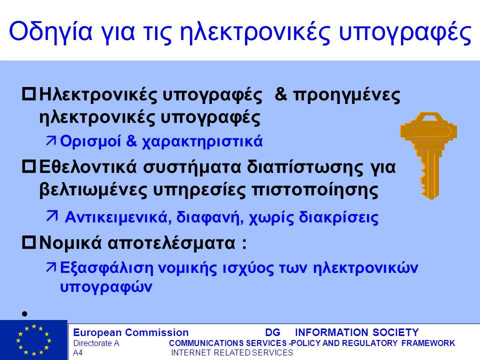 European Commission DG INFORMATION SOCIETY Directorate ACOMMUNICATIONS SERVICES -POLICY AND REGULATORY FRAMEWORK A4 INTERNET RELATED SERVICES 8 - 12/09/98 pΗλεκτρονικές υπογραφές & προηγμένες ηλεκτρονικές υπογραφές äΟρισμοί & χαρακτηριστικά pΕθελοντικά συστήματα διαπίστωσης για βελτιωμένες υπηρεσίες πιστοποίησης ä Αντικειμενικά, διαφανή, χωρίς διακρίσεις pΝομικά αποτελέσματα : äΕξασφάλιση νομικής ισχύος των ηλεκτρονικών υπογραφών Οδηγία για τις ηλεκτρονικές υπογραφές