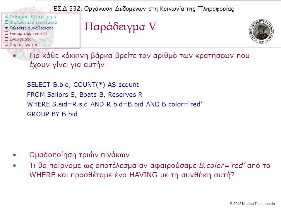 ΕΣΔ 232: Οργάνωση Δεδομένων στη Κοινωνία της Πληροφορίας © 2013 Nicolas Tsapatsoulis  Για κάθε κόκκινη βάρκα βρείτε τον αριθμό των κρατήσεων που έχουν γίνει για αυτήν SELECT B.bid, COUNT(*) AS scount FROM Sailors S, Boats B, Reserves R WHERE S.sid=R.sid AND R.bid=B.bid AND B.color='red' GROUP BY B.bid  Ομαδοποίηση τριών πινάκων  Τι θα παίρναμε ως αποτέλεσμα αν αφαιρούσαμε B.color='red' από το WHERE και προσθέταμε ένα HAVING με τη συνθήκη αυτή.