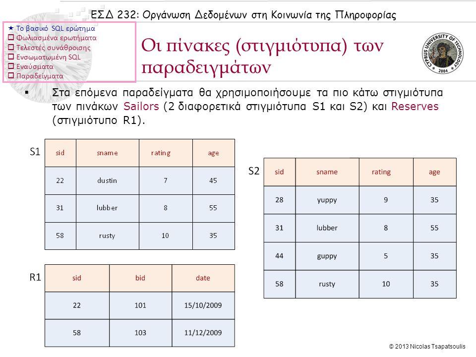 ΕΣΔ 232: Οργάνωση Δεδομένων στη Κοινωνία της Πληροφορίας © 2013 Nicolas Tsapatsoulis Παράδειγμα Ι  Το βασικό SQL ερώτημα  Φωλιασμένα ερωτήματα  Τελεστές συνάθροισης  Ενσωματωμένη SQL  Εναύσματα  Παραδείγματα  Υλοποίηση τελεστή INTERSECT με χρήση του τελεστή IN: Να βρεθούν τα sid's των ναυτικών που έχουν κάνει κράτηση σε κόκκινη αλλά και πράσινη βάρκα: SELECT S.sid FROM Sailors S, Boats B, Reserves R WHERE S.sid=R.sid AND R.bid=B.bid AND B.color='red' AND S.sid IN (SELECT S2.sid FROM Sailors S2, Boats B2, Reserves R2 WHERE S2.sid=R2.sid AND R2.bid=B2.bid AND B2.color='green')  Ομοίως ο τελεστής EXCEPT υλοποιείται με χρήση του NOT IN.